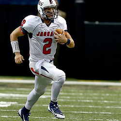 Sep 7, 2013; New Orleans, LA, USA; South Alabama Jaguars quarterback Ross Metheny (2) against the Tulane Green Wave during the first quarter of a game at the Mercedes-Benz Superdome. Mandatory Credit: Derick E. Hingle-USA TODAY Sports
