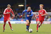 Curtis Main of Oldham Athletic runs at the defence during the Sky Bet League 1 match between Oldham Athletic and Chesterfield at Boundary Park, Oldham, England on 28 March 2016. Photo by Simon Brady.