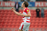 Doncaster Rovers forward John Marquis gestures to wards the Doncaster Rovers fans at full time during the EFL Sky Bet League 1 match between Doncaster Rovers and Bradford City at the Keepmoat Stadium, Doncaster, England on 22 September 2018.