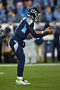 Tennessee Titans quarterback Marcus Mariota (8) waits for the snap in a shotgun formation during the week 14 regular season NFL football game against the Jacksonville Jaguars on Thursday, Dec. 6, 2018 in Nashville, Tenn. The Titans won the game 30-9. (©Paul Anthony Spinelli)