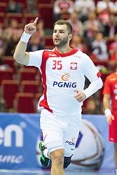 10.04.2016, Ergo Arena, Gdansk, POL, IHF Herren, Olympia Qualifikation, Polen vs Tunesien, im Bild Mateusz Kus // during the IHF men's Olympic Games handball qualifier between Poland and Tunisia at the Ergo Arena in Gdansk, Poland on 2016/04/10. EXPA Pictures © 2016, PhotoCredit: EXPA/ Newspix/ Tomasz Zasinski<br /> <br /> *****ATTENTION - for AUT, SLO, CRO, SRB, BIH, MAZ, TUR, SUI, SWE only*****