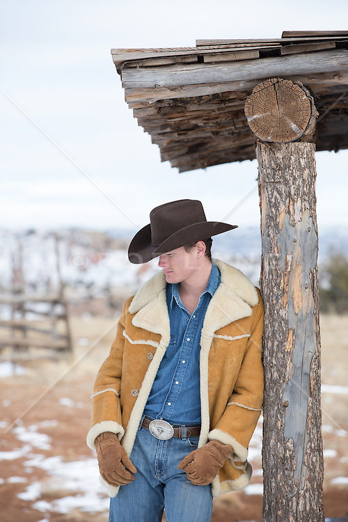 cowboy in the Wintertime on a ranch