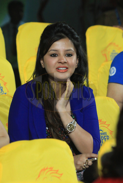 MS Dhoni captain of The Chennai Superkings wife Sakshi during match 21 of the Pepsi Indian Premier League Season 2014 between the Chennai Superkings and the Kolkata Knight Riders  held at the JSCA International Cricket Stadium, Ranch, India on the 2nd May  2014<br /> <br /> Photo by Arjun Panwar / IPL / SPORTZPICS<br /> <br /> <br /> <br /> Image use subject to terms and conditions which can be found here:  http://sportzpics.photoshelter.com/gallery/Pepsi-IPL-Image-terms-and-conditions/G00004VW1IVJ.gB0/C0000TScjhBM6ikg