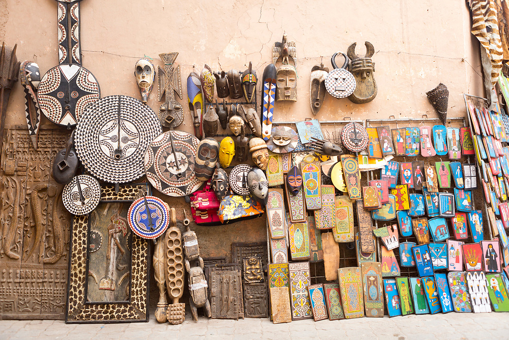 MARRAKESH, MOROCCO - 19TH APRIL 2016 - Colourful decorative ornament items for sale at a market stall in the old Marrakesh Medina, Morocco.