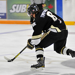 TRENTON, ON - Oct 26: Ontario Junior Hockey League game between Wellington Dukes and Trenton Golden Hawks. Josh Timpano #8 of the Trenton Golden Hawks skates with the puck during second period game action..(Photo by Shawn Muir / OJHL Images)