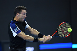 BEIJING, Oct. 2, 2018  Roberto Bautista Agut of Spain hits a return during the men's singles first round match against Alexander Zverev of Germany at China Open tennis tournament in Beijing, China, Oct. 2, 2018. Roberto Bautista Agut lost 0-2. (Credit Image: © Ju Huanzong/Xinhua via ZUMA Wire)