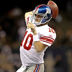 November 28, 2011; New Orleans, LA, USA; New York Giants quarterback Eli Manning (10) prior to kickoff of a game against the New Orleans Saints at the Mercedes-Benz Superdome. Mandatory Credit: Derick E. Hingle-US PRESSWIRE