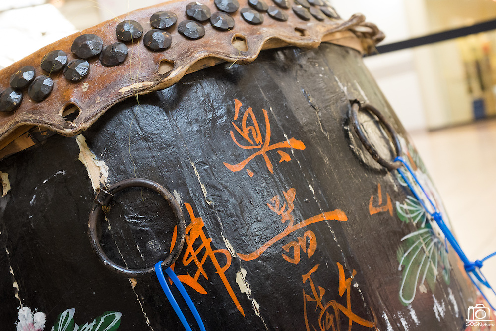Chinese characters mark the sides of a drum during the Lunar New Year event at the Great Mall of the Bay Area in Milpitas, California, on February 21, 2015. (Stan Olszewski/SOSKIphoto)