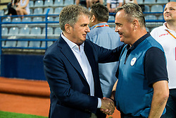 Ljubisa Tumbakovic, coach of Montenegro and Tomaz Kavcic, head coach of Slovenia during friendly football match between National Teams of Montenegro and Slovenia, on June 2, 2018 in Stadium Pod goricom, Podgorica, Montenegro. Photo by Vid Ponikvar / Sportida