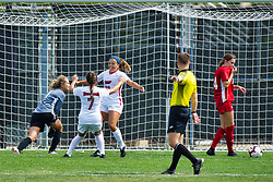 NORMAL, IL - August 10:  Hannah Mueller celebrates a goal scored by Abby Basler during a nonconference exhibition women's soccer match between the Southern Illinois Edwardsville Cougars and the Illinois State Redbirds August 10 2019 on Adelaide Street Field in Normal IL (Photo by Alan Look)