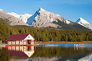 Fishermen returning to the boat house on Maligne Lake, Jasper National Park, Alberta, Canada
