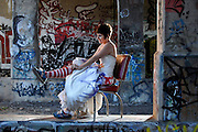 DETROIT, MICHIGAN - USA - Drash the dress portrait with graffiti painted on the dress at Dequindre Cut in Detroit. (Photo by Bryan Mitchell)
