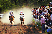 """La Promesa"" begins to take a lead over ""Mormen Jr."" during the third race of the evening at Adolfo Chavero's race track in Swansea, Saturday, July 21, 2007. Chavero runs one of the many tracks popping up in South Carolina as the Hispanic population increases. The races, between two horses down a straight quarter-mile track, attracts about 150 to 200 people."