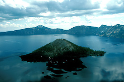 Oregon: Crater Lake National Park, scenic Wizard Island, orcrat102   .Photo copyright Lee Foster, www.fostertravel.com, (510) 549-2202, lee@fostertravel.com