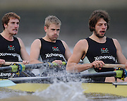 Putney, GREAT BRITAIN,  left, George NASH, centre 2009 President, Henry PELLY,  and  Tom RANSLEY, as the 2008 Varsity/Cambridge University Trial Eights, starts,  raced over the championship course. Putney to Mortlake, Tue. 16.12.2008. [Mandatory Credit, Peter Spurrier/Intersport-images..Crew Personality. Bow Dan SHAUGHNESSY, 2. Shane O'MARA, 3. John CLAY, 4. Ryan MONAGHAN, 5. Fred GILL, 6. Deaglan McEACHERN, 7. Hardy CUTBASCH, stroke,. Rob WEITEMAYER and cox Rebecca DOWBIGGIN...Crew Looks;.Bow James STRAWSON. 2. Joel JENNINGS, 3. Code STERNAL, 4 Peter MARSLAND, 5. George NASH, 6. Henry PELLY, 7. Tom RANSLEY, stroke Silas STAFFORD and Cox Helen HODGES.. Varsity Boat Race, Rowing Course: River Thames, Championship course, Putney to Mortlake 4.25 Miles,