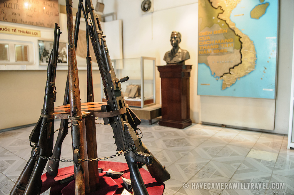 A stack of rifles used by Vietnamese soldiers since the First Indochina War. The museum was opened on July 17, 1956, two years after the victory over the French at Dien Bien Phu. It is also known as the Army Museum (the Vietnamese had little in the way of naval or air forces at the time) and is located in central Hanoi in the Ba Dinh District near the Lenin Monument in Lenin Park and not far from the Ho Chi Minh Mausoleum.