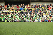 Forest Green Rovers Chairman Dale Vince with the young fans who received free shirts  during the EFL Sky Bet League 2 match between Forest Green Rovers and Morecambe at the New Lawn, Forest Green, United Kingdom on 17 November 2018.