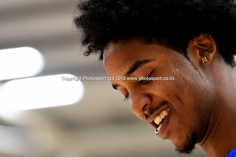 Giants player DeRonn Scott warms up before their NBL Basketball game between the Nelson Giants v Taranaki Mountain Airs. Saxton Stadium, Nelson, New Zealand. Saturday 18 April 2015. Copyright Photo: Chris Symes / www.photosport.co.nz