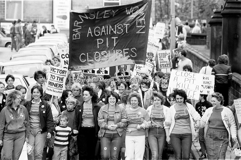 1st national women's march in support of striking miners, Barnsley. 12 May 1984.<br />