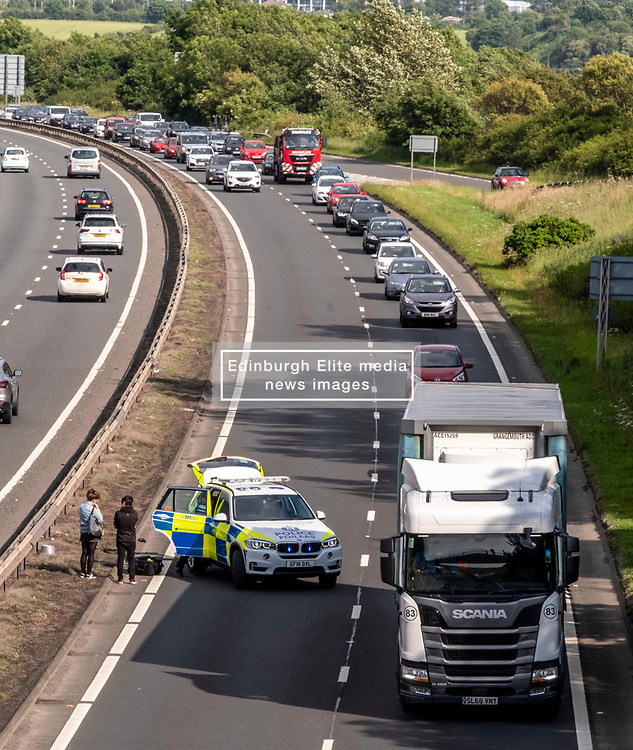 Police Scotland officers were called to the  Hillend junction of the A720 Edinburgh tonight, at around 5:30pm, to pick up two pedestrians who were walking along the busy rod at the height of the rush hour today