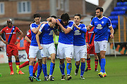 GOAL Jack Baldwin is congratulated after opening the scoring 1-0 during the EFL Sky Bet League 1 match between Peterborough United and Rochdale at London Road, Peterborough, England on 25 February 2017. Photo by Daniel Youngs.