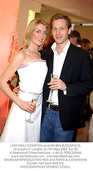 LADY EMILY COMPTON and MR BEN BLOOMFIELD, at a party in London on 7th May 2003.PJJ 58