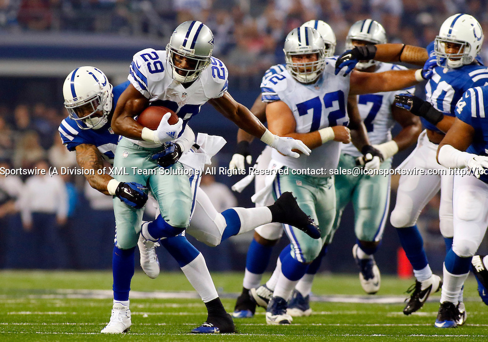 21 DEC 2014: Indianapolis Colts Linebacker Jonathan Newsome (91) [18768] tackles Dallas Cowboys Running Back DeMarco Murray (29) [16636] during an NFL regular season game between the Indianapolis Colts and Dallas Cowboys at AT&T Stadium in Arlington, TX.