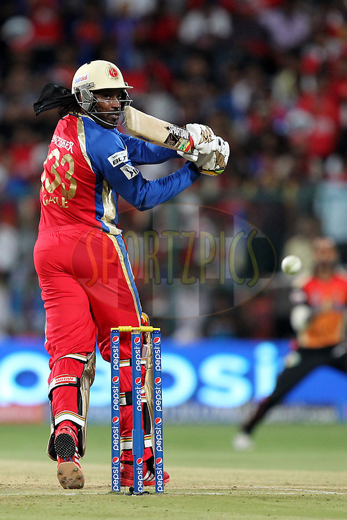 Chris Gayle of the Royal Challengers Bangalore during match 24 of the Pepsi Indian Premier League Season 2014 between the Royal Challengers Bangalore and the Sunrisers Hyderabad held at the M. Chinnaswamy Stadium, Bangalore, India on the 4th May  2014Photo by Prashant Bhoot / IPL / SPORTZPICSImage use subject to terms and conditions which can be found here:  http://sportzpics.photoshelter.com/gallery/Pepsi-IPL-Image-terms-and-conditions/G00004VW1IVJ.gB0/C0000TScjhBM6ikg