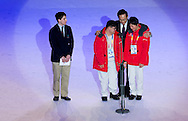 Lee Myung-Bak, president of the Republic of Korea, declared the games open while holding hands with Special Olympics athletes Sungha Seo, a skater, (left) and Chanmi Kim, a skier while opening ceremony of the 10th Special Olympics World Winter Games in the Yongpyong Dome near Alpensia on January 29, 2013...South Korea, PyeongChang, January 29, 2013..Picture also available in RAW (NEF) or TIFF format on special request...For editorial use only. Any commercial or promotional use requires permission...Photo by © Adam Nurkiewicz / Mediasport.