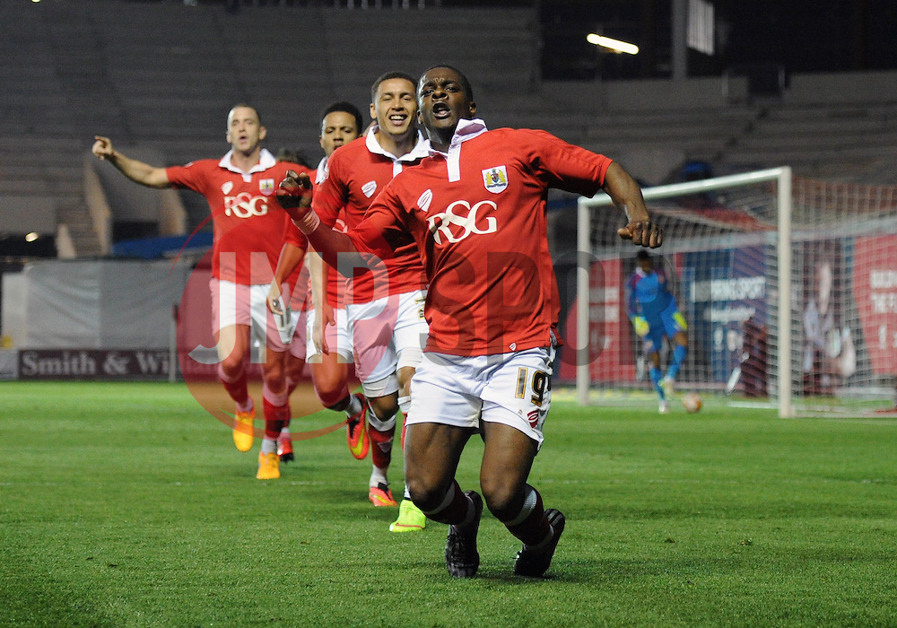 Bristol City's Kieran Agard celebrates his goal. - Photo mandatory by-line: Dougie Allward/JMP - Mobile: 07966 386802 - 07/04/2015 - SPORT - Football - Bristol - Ashton Gate - Bristol City v Swindon Town - Sky Bet League One