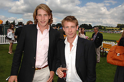 Left to right FREDDIE HUNT and TOM HUNT sons of the late racing driver James Hunt at the final of the Veuve Clicquot Gold Cup 2007 at Cowdray Park, West Sussex on 22nd July 2007.<br />