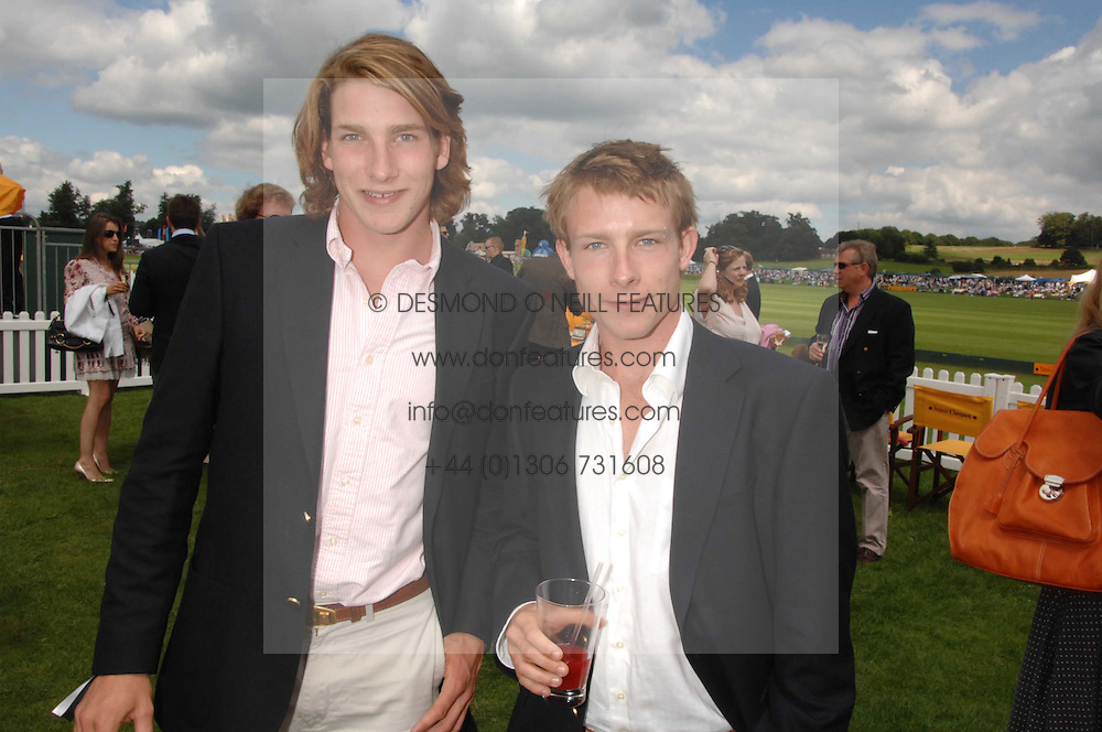 Left to right FREDDIE HUNT and TOM HUNT sons of the late racing driver James Hunt at the final of the Veuve Clicquot Gold Cup 2007 at Cowdray Park, West Sussex on 22nd July 2007.<br /><br />NON EXCLUSIVE - WORLD RIGHTS
