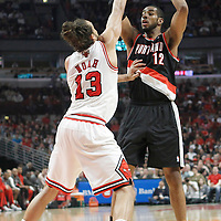16 March 2012: Portland Trail Blazers power forward LaMarcus Aldridge (12) looks to pass the ball during the Portland Trail Blazers 100-89 victory over the Chicago Bulls at the United Center, Chicago, Illinois, USA.