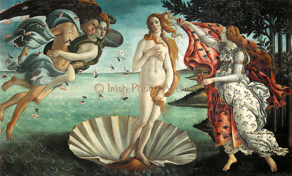 'The Birth of Venus' 1486; painting by the Italian Renaissance painter Sandro Botticelli c. 1445 - 1510. It depicts the goddess Venus, having emerged from the sea as a full grown woman, arriving at the sea-shore