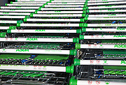 Row of Asda supermarket shopping trolleys