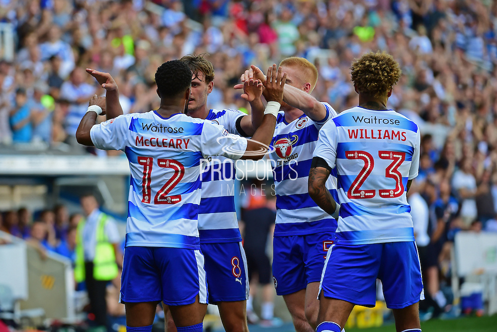 Reading midfielder Gareth McCleary (12) and Reading midfielder Danny Williams (23) celebrate Reading midfielder John Swift (8) goal to reading 1-0 during the EFL Sky Bet Championship match between Reading and Preston North End at the Madejski Stadium, Reading, England on 6 August 2016. Photo by Jon Bromley.