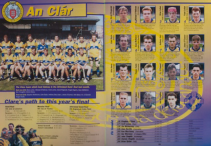 All Ireland Senior Hurling Championship - Final, .03.09.1995, 09.03.1995, 3rd September 1995, .03091995AISHCF, .Senior Clare v Offaly,.Minor Kilkenny v Cork,.Clare 1-13, Offaly 2-8, .Clare, David Fitzgerald, Sixmilebridge, Michael O'Halloran, Sixmilebridge, Brian Lohan, Wolfe Tones na Sionna, Frank Lohan, Wolfe Tones na Sionna, Liam Doyle, Bodyke, Sean McMahon, St Josephs Doora, Barefield, Anthony Daly, Clarecastle, James O'Connor, St Josephs Doora, Barefield, Ollie Baker, St Josephs Doora, Fergus Tuohy, Clarecastle, PJ O'Connell, O'Callaghans Mills, Fergal Hegarty, Killnamona, Stephen McNamara, Eire Og Inis, Conor Clancy, Killmaley, Ger O'Loughlin, Clarecastle, subs, Stephen O'Hara, Tulla, Cyril Lyons, Ruan, Jim McInerney, Tulla, Alan Neville, Ken Morrissey, .Ger Moroney, John Chaplin, Christy Chaplin, Brian Quinn,