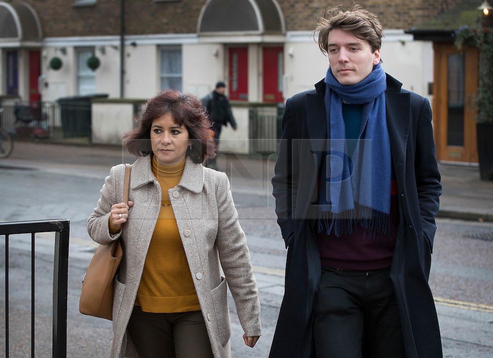 © Licensed to London News Pictures. 29/01/2017. London, UK. Labour party leader Jeremy Corbyn's wife Laura Alvarez and James Schneider of Momentum arrive at ITV Studios. Mr Corbyn is appearing on Peston's Politics.  Photo credit: Peter Macdiarmid/LNP