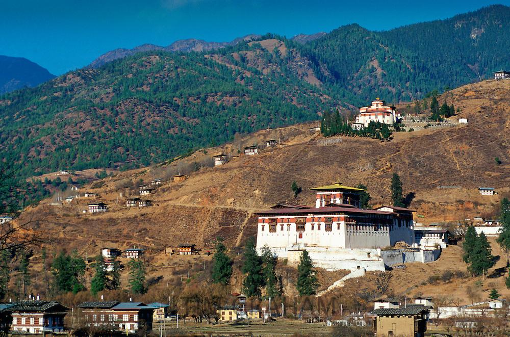 Paro Dzong and ancient watchtower, Paro, Bhutan