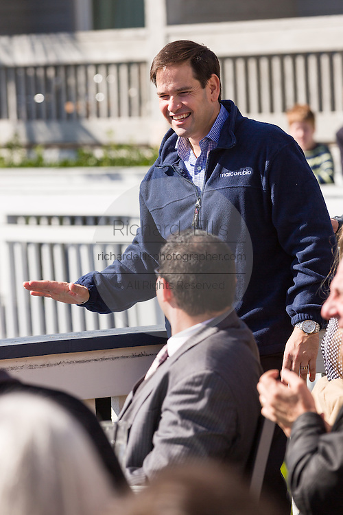 Senator and GOP presidential candidate Marco Rubio greets supporters before a campaign event at the Waters Edge restaurant along Shem Creek in Mount Pleasant, South Carolina. About 100 people turned out to hear the Senator speak in the heart of the shrimping industry along Charleston Harbor.