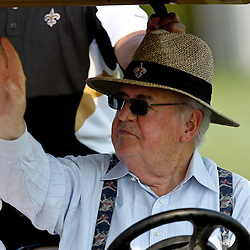 August 6, 2011; Metairie, LA, USA; New Orleans Saints owner Tom Benson during training camp practice at the New Orleans Saints practice facility. Mandatory Credit: Derick E. Hingle