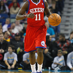 January 3, 2011; New Orleans, LA, USA; Philadelphia 76ers point guard Jrue Holiday (11) against the New Orleans Hornets during the first quarter at the New Orleans Arena.   Mandatory Credit: Derick E. Hingle
