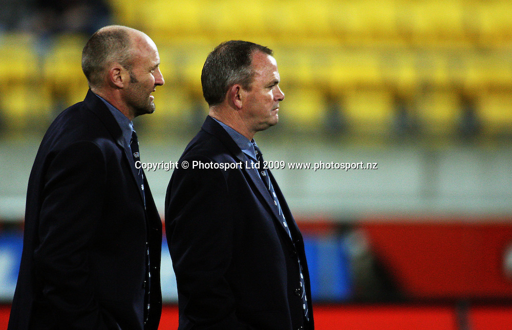 Auckland coaches Andrew Strawbridge and Mark Anscombe.<br /> Air NZ Cup Ranfurly Shield match - Wellington Lions v Auckland at Westpac Stadium, Wellington, New Zealand. Saturday, 22 August 2009. Photo: Dave Lintott/PHOTOSPORT