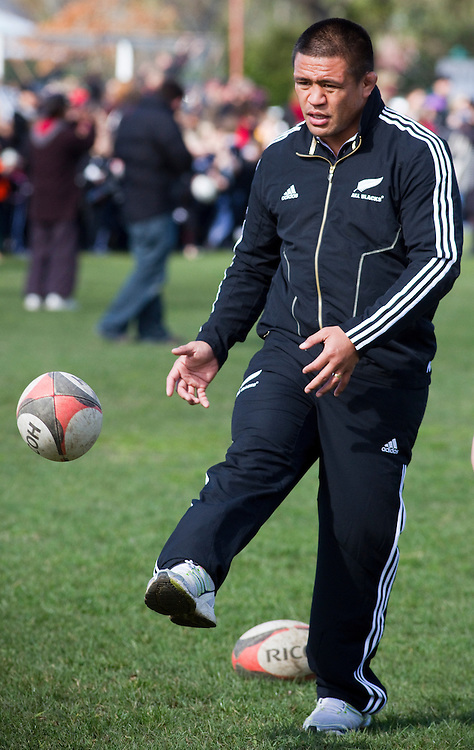 All Black Kevin Mealamu at Russell Park, Waipukarau for a visit promoting the rugby world cup, Waipukarau, New Zealand, Friday September 02, 2011. Photo: SNPA / Bethelle McFedries