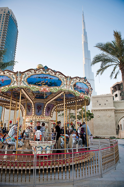 A childrens' carousel in the Dowtown Burj Dubai district in Dubai, UAE on Friday, February 12, 2010.