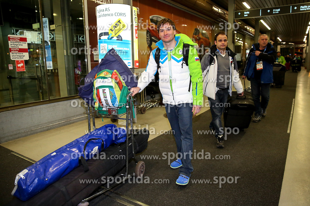Rok Marguc at reception of Slovenia team arrived from Winter Olympic Games Sochi 2014 on February 24, 2014 at Airport Joze Pucnik, Brnik, Slovenia. Photo by Vid Ponikvar / Sportida