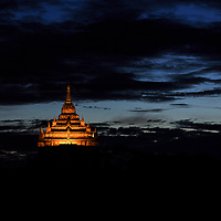 Thatbyinnyu temple at twilight, Bagan, Myanmar, 2015