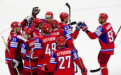 Players celebrate after the ice-hockey match between Russia and Slovenia of Group A of IIHF 2011 World Championship Slovakia, on May 1, 2011 in Orange Arena, Bratislava, Slovakia. Russia defeated Slovenia 6-4. (Photo By Vid Ponikvar / Sportida.com)