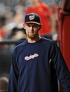 Aug. 10, 2012; Phoenix, AZ, USA; Washington Nationals pitcher Stephen Strasburg (37) walks through the dugout prior to the game against the Arizona Diamondbacks at Chase Field.  Mandatory Credit: Jennifer Stewart-US PRESSWIRE