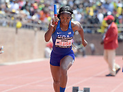 Apr 28, 2018; Philadelphia, PA, USA; Aaliyah Brown runs the first leg on the USA Red women's 4 x 100m relay that placed third in the USA vs. The World race in 43.18  during the 124th Penn Relays at Franklin Field.